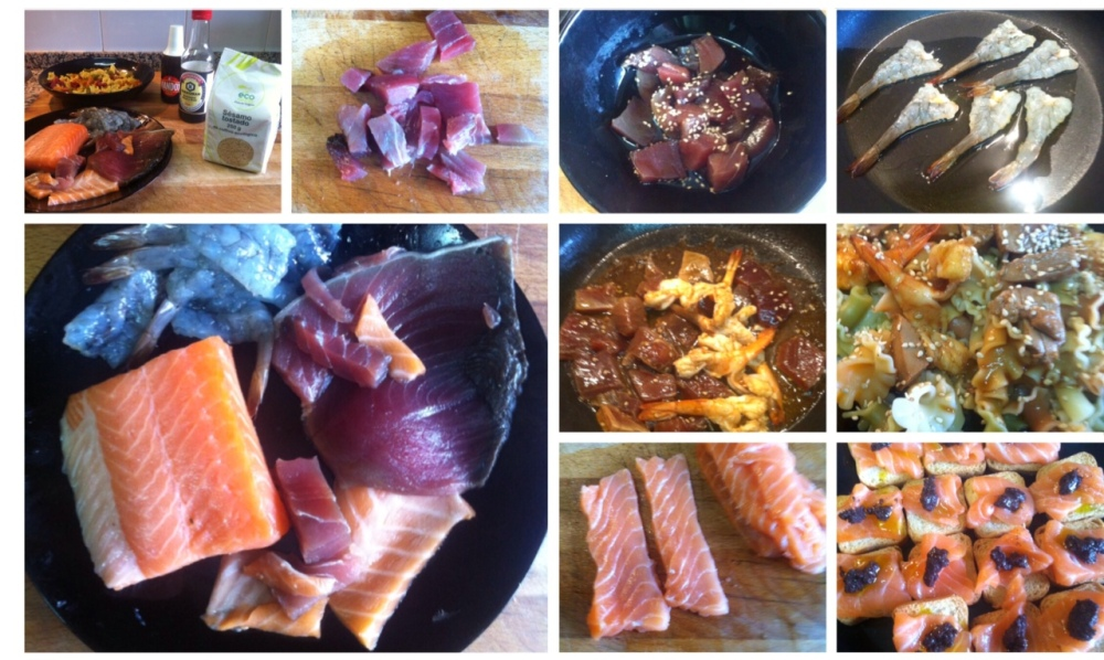 Receta de pasta para aprovechar atún fresco del sushi