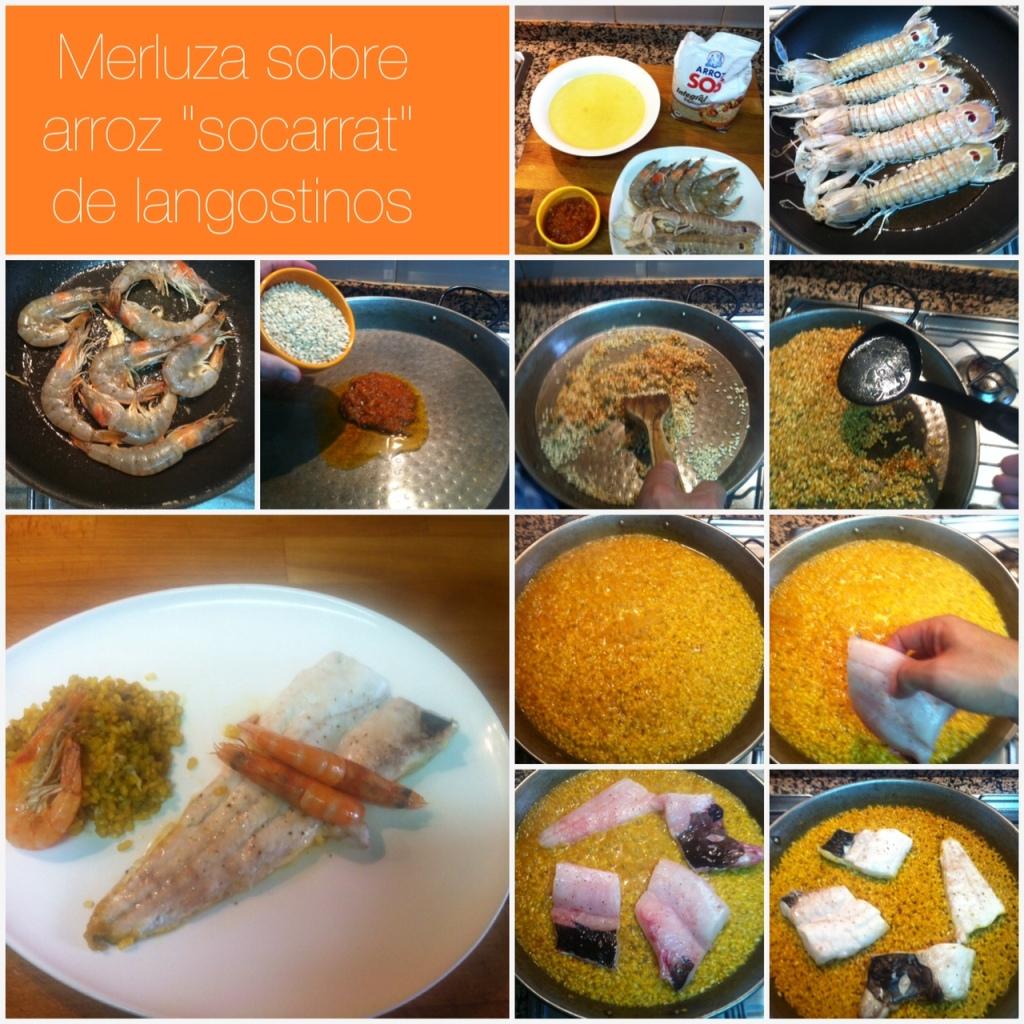 merluza sobre arroz socarrat de galeres y langostinos